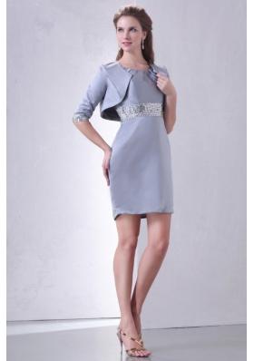 Discount Mini-length Scoop Prom Dama Dresses with Sequin Waist