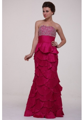 Paillettes Decorated Column Layers Fuchsia Prom Gown Dresses