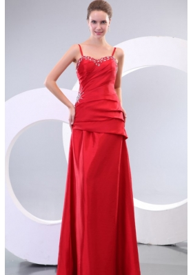 Red Spaghetti Straps Column Taffeta Prom Evening Dress on Sale