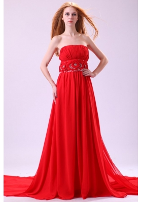 Beaded Handle Flowers Decorated Empire Red Chiffon Prom Dress