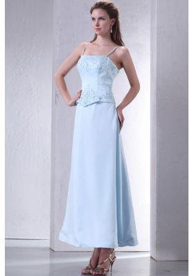 Baby Blue A-line Ankle-length Spaghetti Straps Prom Gown Dress