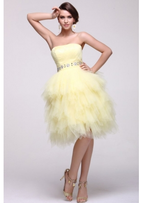 Beautiful Ruffles and Beading Knee-length Yellow Prom Gowns