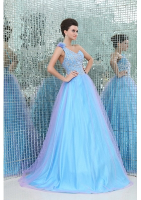 A-lien Blue One Shoulder Puffy Prom Gown Dress with Embroidery