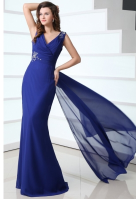 Blue Column V-neck Chiffon Prom Gown Dress with Sweep Train