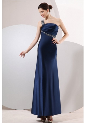 Navy Blue One Shoulder Ankle-length Prom Dresses with Beading