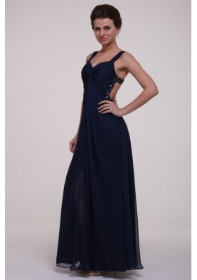 Chic Navy Blue Empire Chiffon Prom Formal Dress with Cool Back