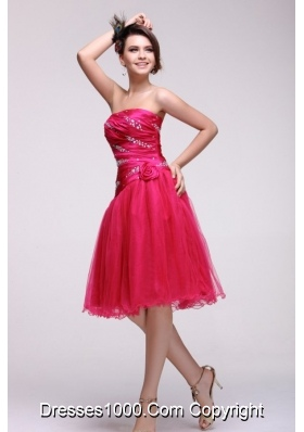 A-line Knee-length Beading Ruche and Handle Flowers Prom Gown