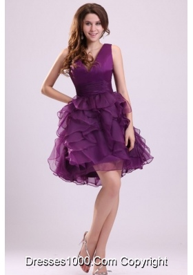 Purple Princess Knee-length Tiers Prom Graduation Dress for Sale