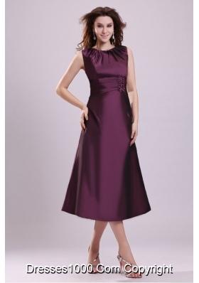Noble Bateau Tea-length A-line Purple Taffeta Prom Gown Dresses