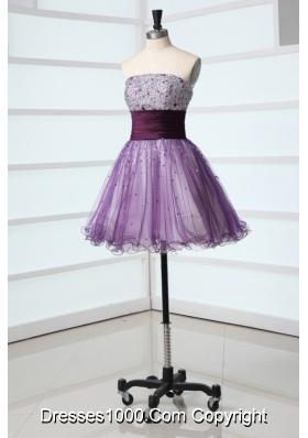 Mini-length Lilac Organza Prom Nightclub Dress with Sequin Bust