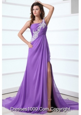 Lilac Single Shoulder Court Train Side Slit Prom Dress for Women