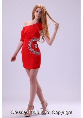 Single Shoulder Mini-length Red Prom Party Dress with Beading