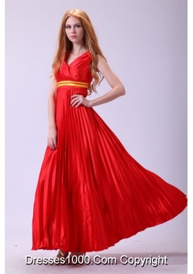 Cheap Red Empire V-neck Beaded Prom Theme Dresses with Pleats