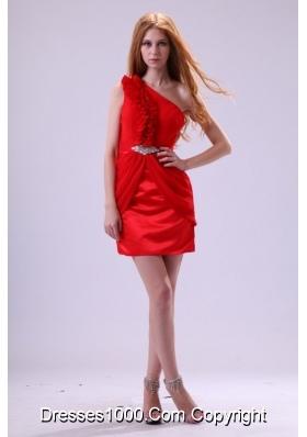 Ruffled One Shoulder Mini-Length Taffeta Prom Dresses in Red