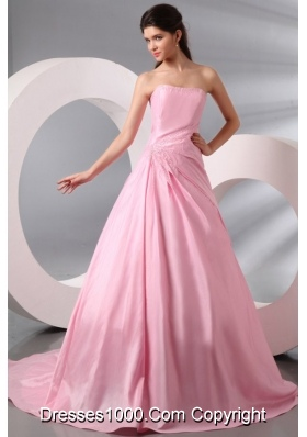 A-line Court Train Prom Gown Dress in Baby Pink with Puffy Skirt