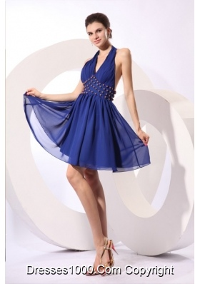 Blue A-line Halter Top Knee-length Beaded Chiffon Prom Gowns