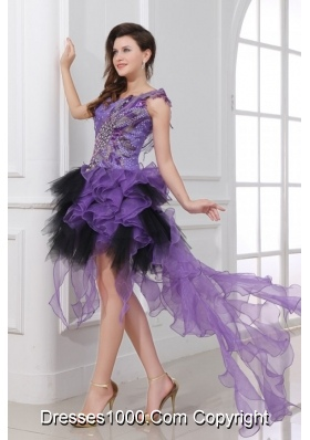 Purple and Black Asymmetrical Ruffled and Beaded Prom Gowns