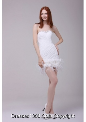 Feathers Handle Flowers and Ruching Mini-length Prom Dresses