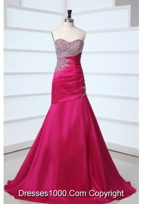 Romantic Fuchsia A-line Puffy Dress for Prom with Sequin Breast