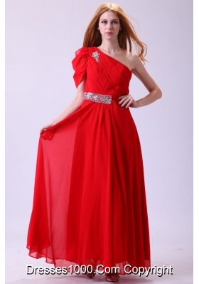 Cheap One Shoulder Beading Chiffon Prom Formal Dress in Red