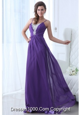 Spaghetti Straps A-line Beaded Chiffon Prom Gown Dress in Purple