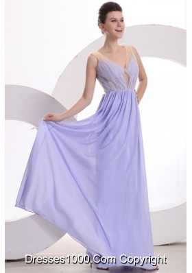 Vintage V-neck A-line Full Length Chiffon Prom Celebrity Dresses