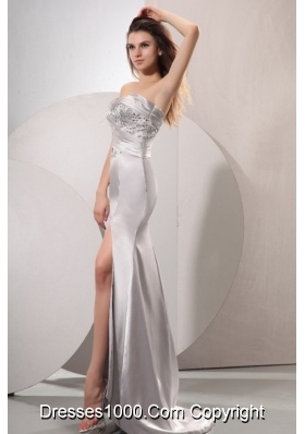 Diamonds Decorated Sheath High Slit Brush Train Prom Dresses