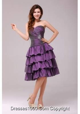 Purple A-line Beading and Ruche Layers Knee-length Prom Gowns