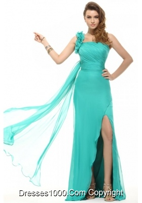 Chic Ruffled One Shoulder High Slit Turquoise Prom Formal Dress