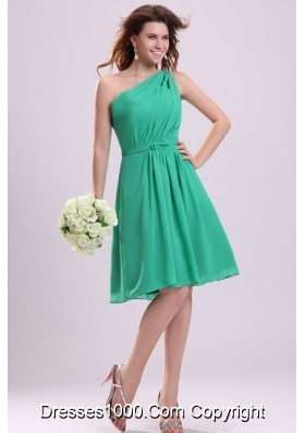 Turquoise One Shoulder Knee-length Chiffon Prom Cocktail Dress