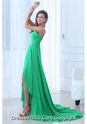 Sweetheart High Low Ruching and Sequins Chiffon Prom Gowns