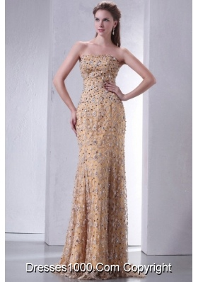 Paillettes Decorated Lace Column Strapless Prom Pageant Dresses