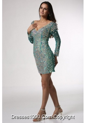 Diamonds Over Skirt Mini-length Long Sleeves Prom Gown Dress