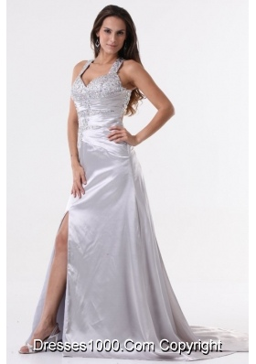 Beaded Wide Straps High Slit Sweep Train Prom Gown Dresses