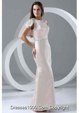 Cap Sleeves Scoop Neckline Column Full Length Prom Gown Dress