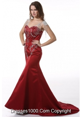 V-neck Trumpet Wine Red Taffeta Prom Gowns with Court Train
