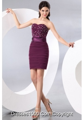 Short Column Purple Sweetheart Beading and Ruching Prom Dress