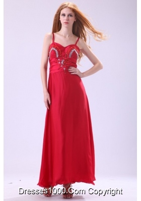 Red Ankle-length Column Beading Chiffon Prom Evening Dress