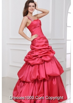 A-line Beaded Decorate One Shoulder Prom Holiday Dress in Coral Red