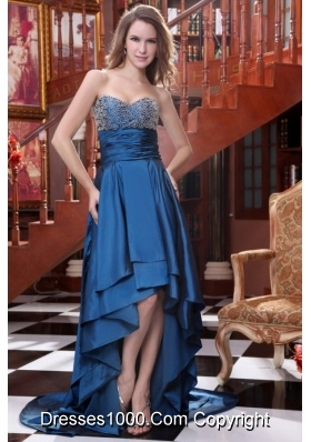 Chic High-low Sweetheart Prom Dress with Lace Overlay on Bust Area