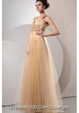 Champagne Spaghetti Straps Appliques Prom Dresses for Ladies