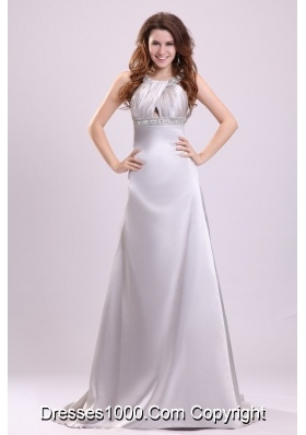Gray Straps Beading and Ruching Brush Train Prom Gown Dress