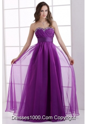 Purple Prom Dress with Sweetheart Neckline Hemmed by Beading