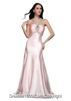Sweet Baby Pink V-neck Beading Prom Evening Dress