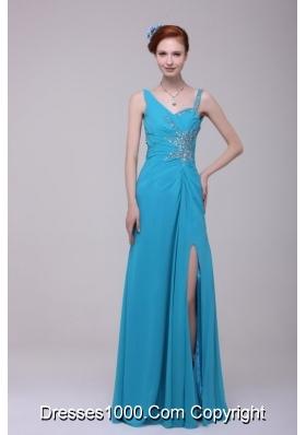 Aqua Blue Asymmetrical Neckline High Slit Chiffon Prom Maxi Dresses