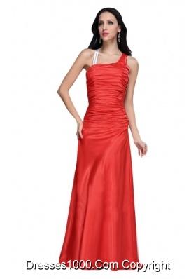 Elegant Asymmetrical Red Ruche Prom Dress with Sweep Train