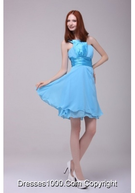 Cute Baby Blue One Shoulder Ruching Short Dresses for Prom Princess