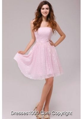 Lovely Strapless Prom Dress by Baby Pink Printed Fabric in Knee-length