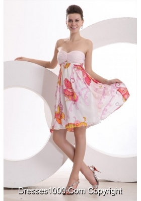 Baby Pink Sweetheart Printing and Ruche Knee-length Prom Party Dress