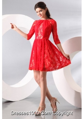 Amazing Short Red Prom Dress with Lace Overlay and Half Sleeves